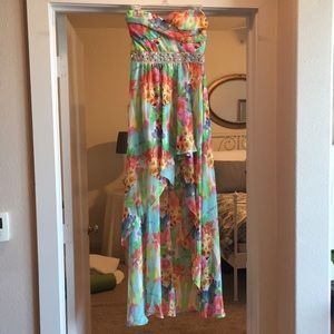 Nordstrom B.P. Floral High-Low Strapless Dress